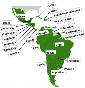 Shows a map of the countries of Central and South America.